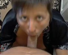 Wife gives great blowjob session to her man